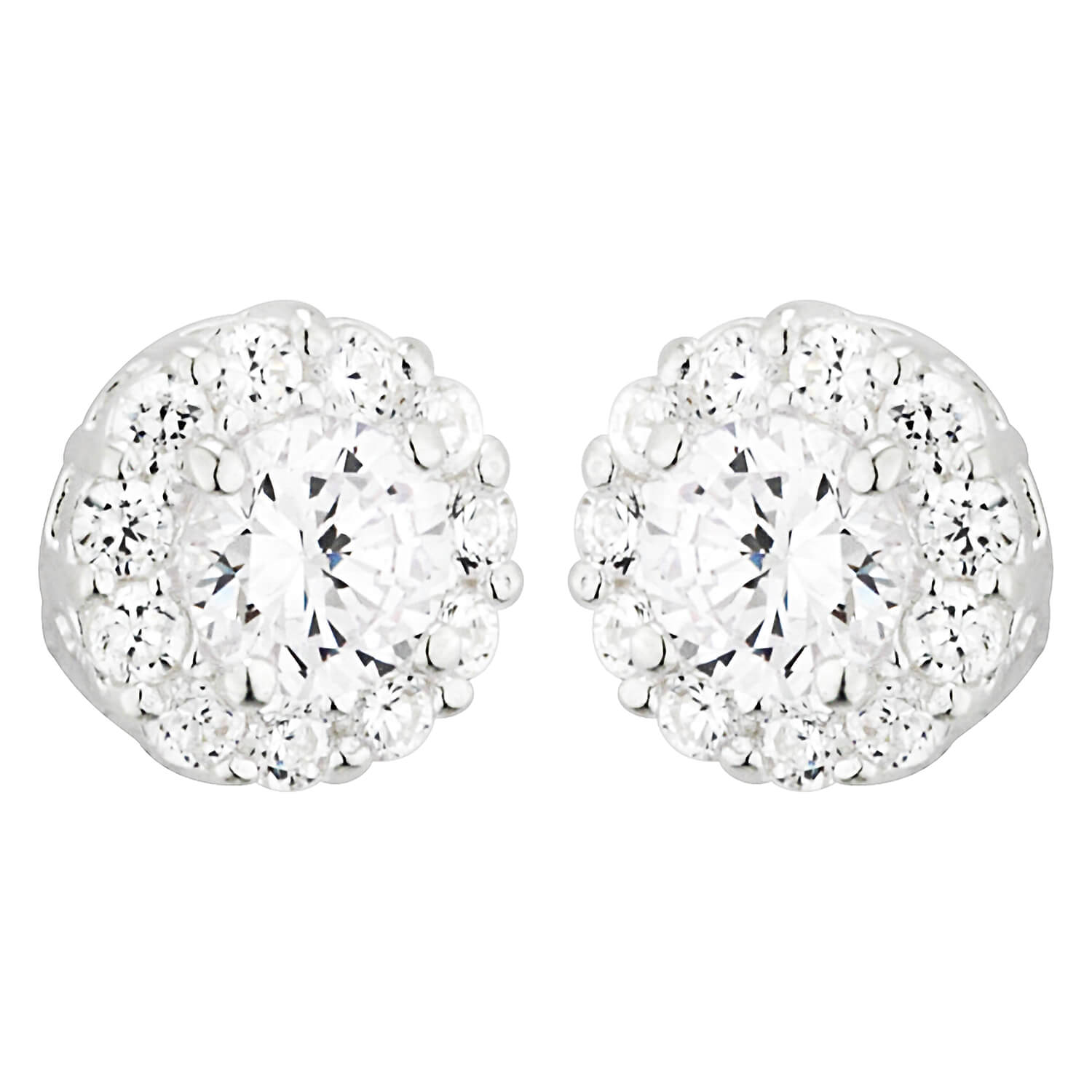 Sterling Silver and Cubic Zirconia Cluster Earrings