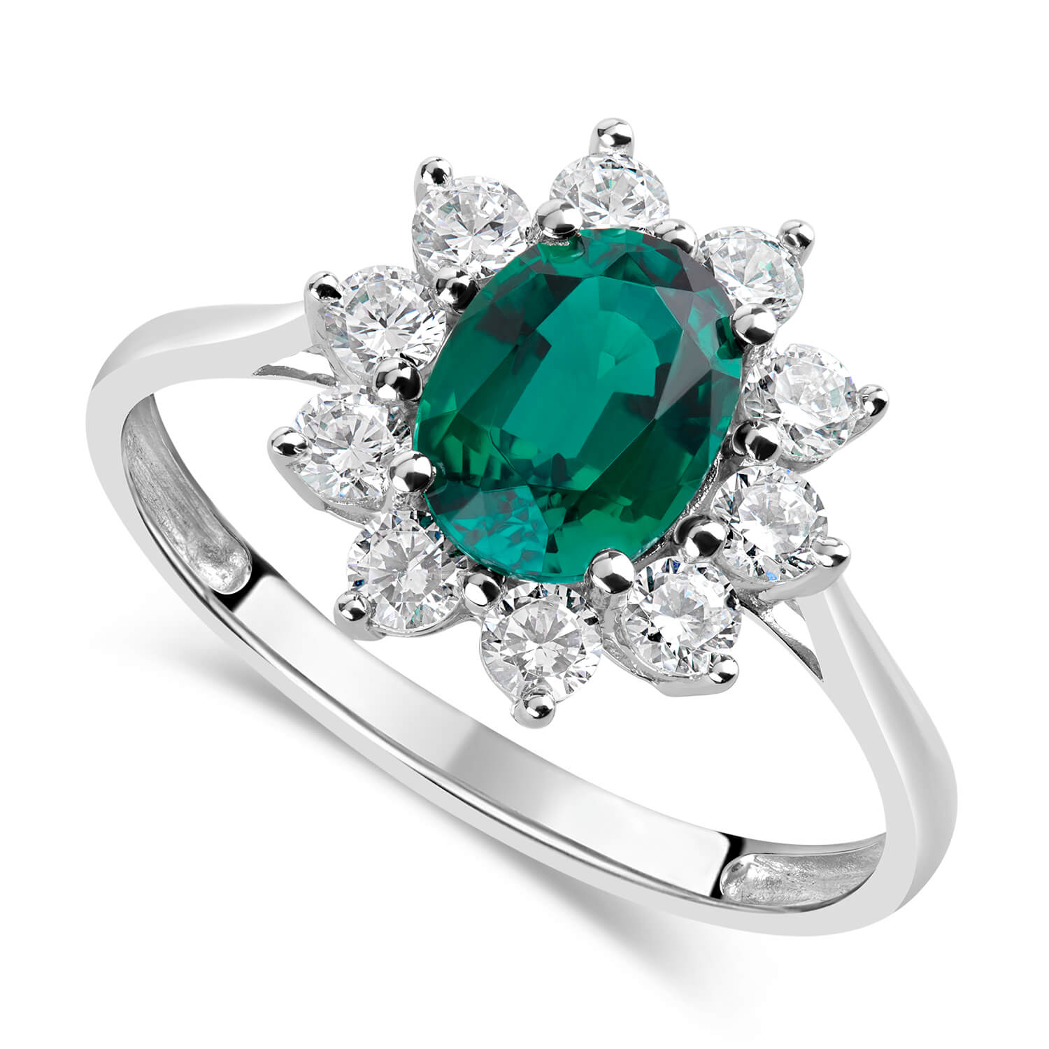 9ct White Gold and Emerald Ring