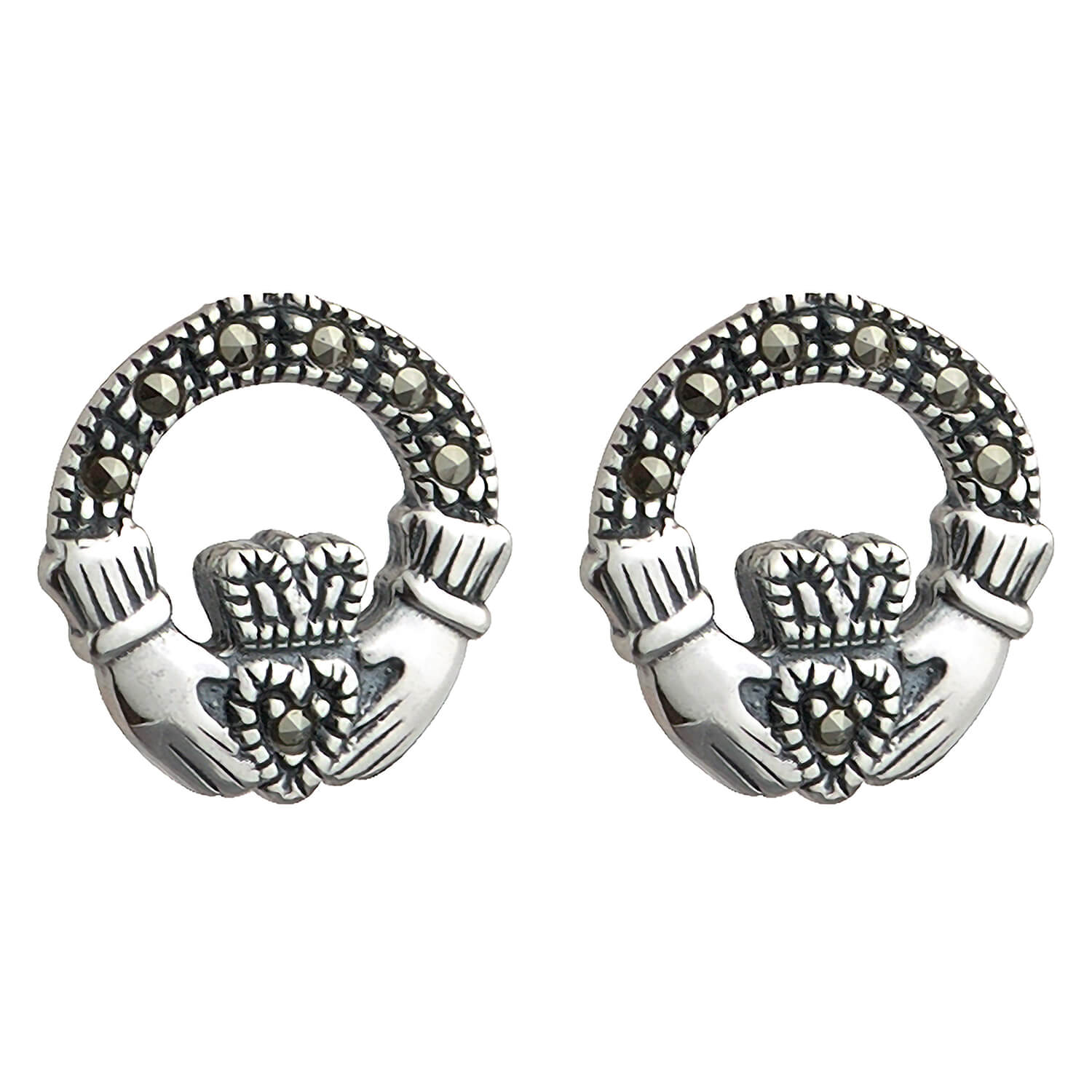 Sterling Silver and Marcasite Claddagh Stud Earrings.
