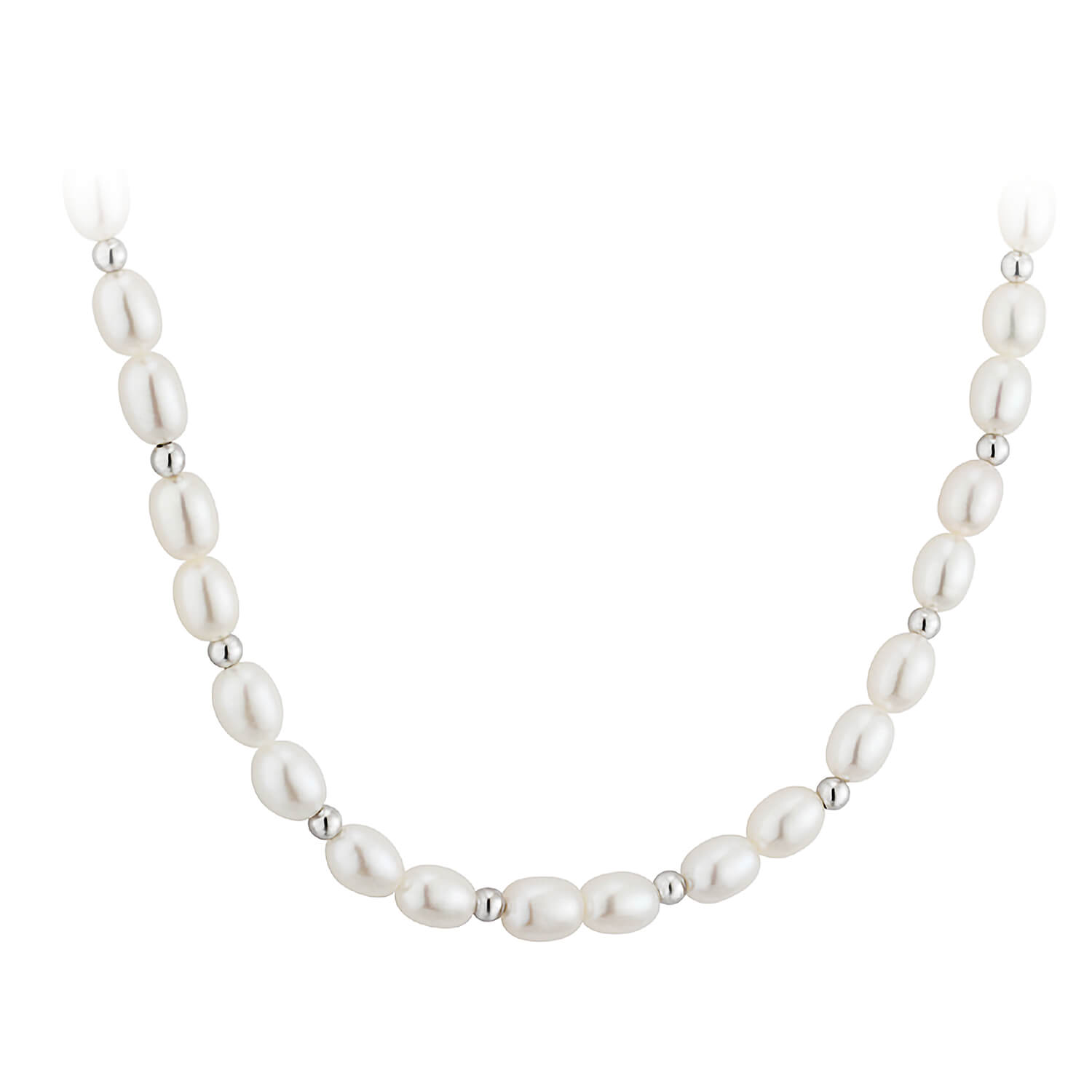 9ct White Gold Freshwater Pearl Necklet