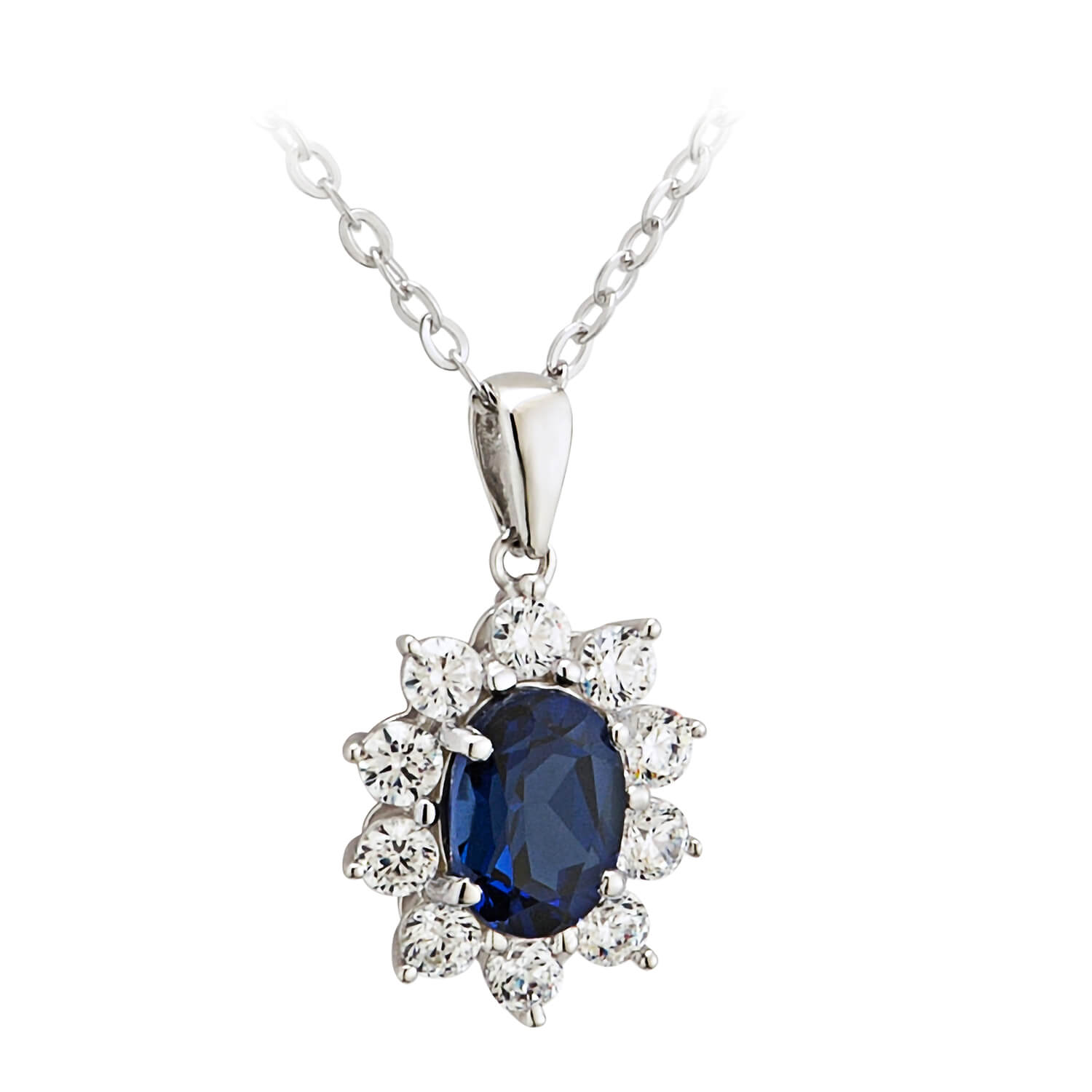 9ct White Gold Created Sapphire and Cubic Zirconia Pendant