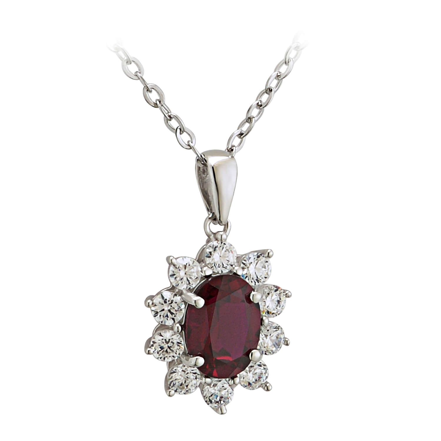 9ct White Gold Created Ruby and Cubic Zirconia Pendant