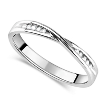 9ct White Gold Diamond 3mm Twist Wedding Ring