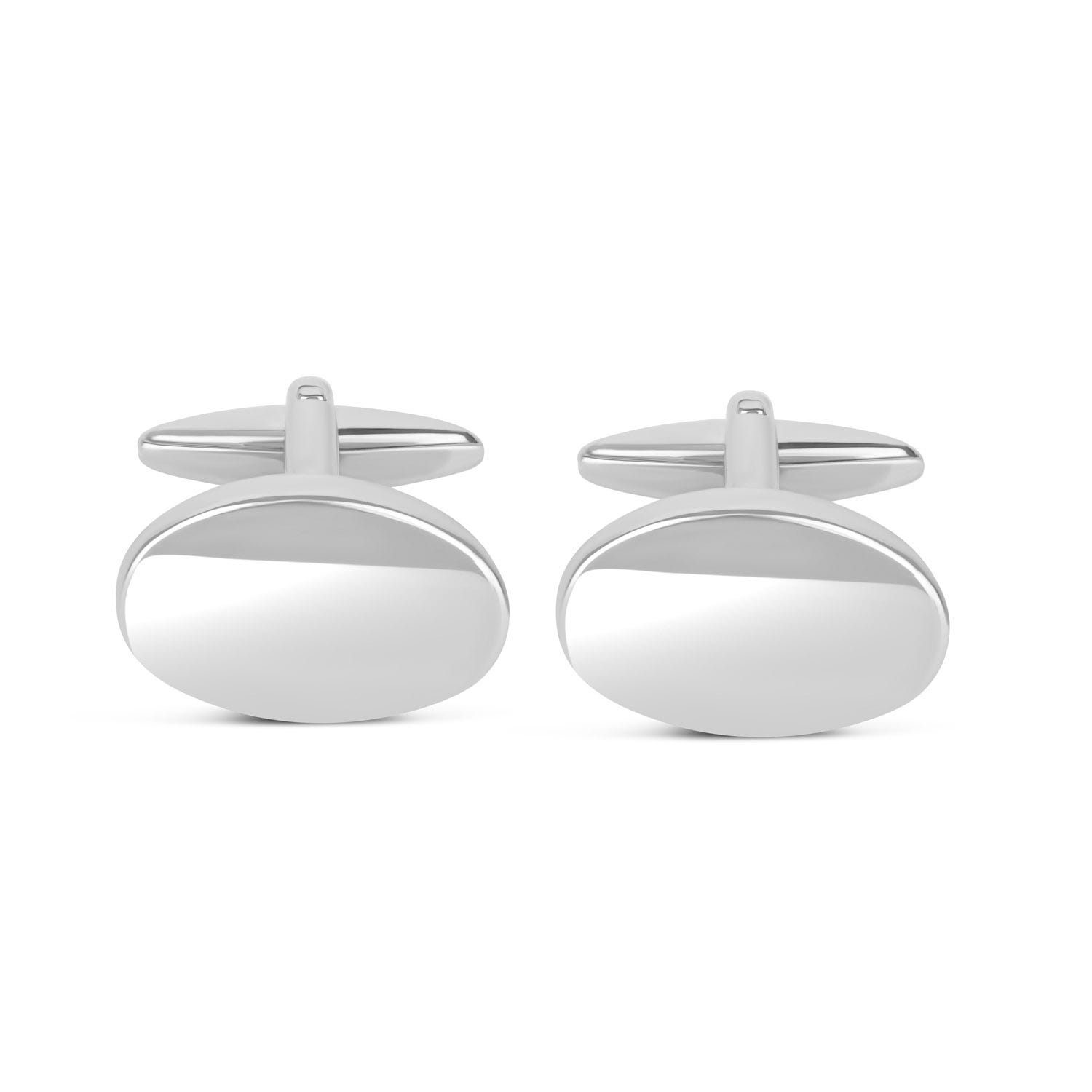 Silver-Plated Polished Oval Cufflinks