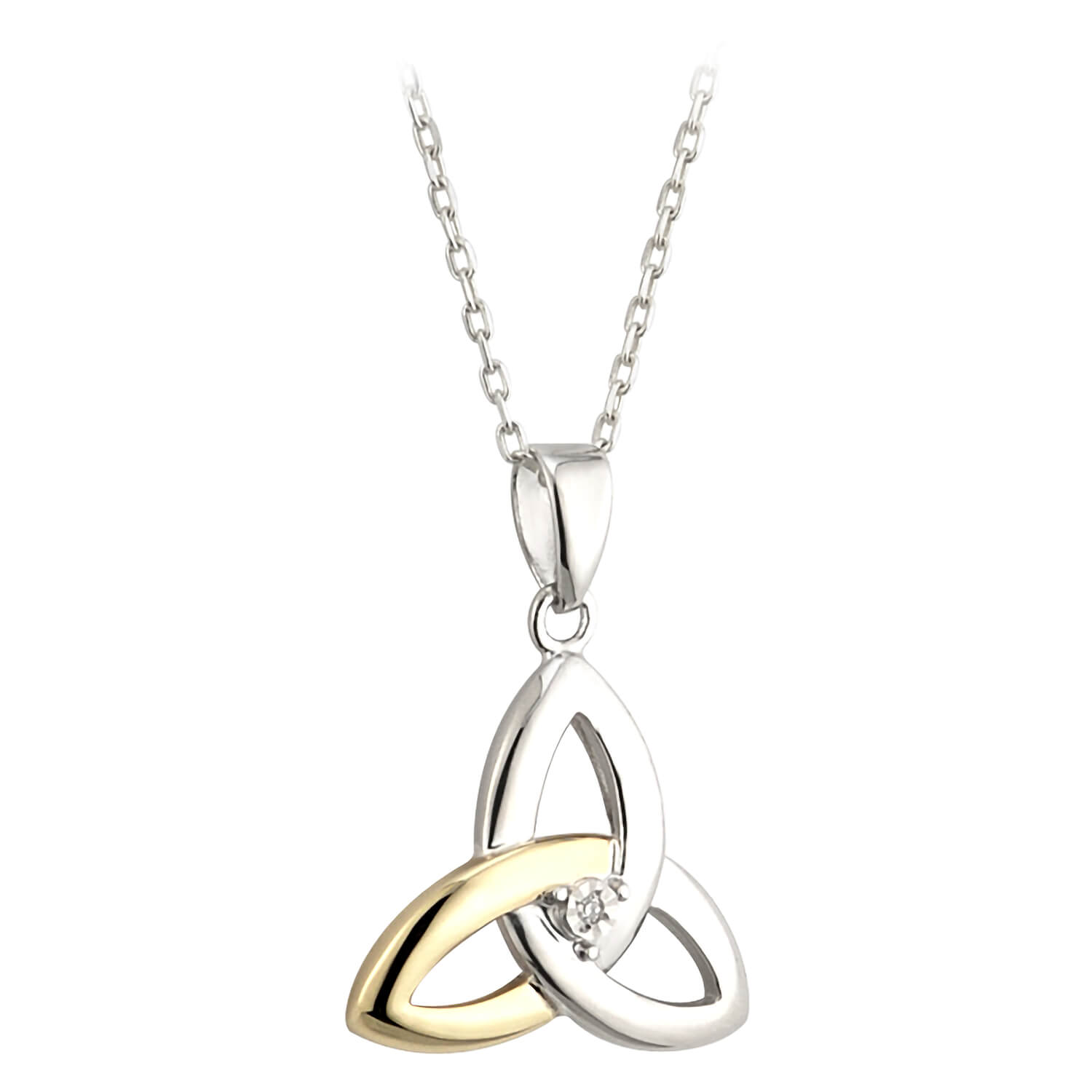 Sterling Silver and 10ct Yellow Gold Diamond Trinity Knot Pendant