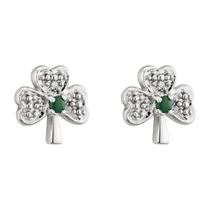 14ct White Gold Diamond and Emerald Shamrock Earrings