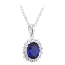 Sterling Silver and Cubic Zirconia Sapphire Pendant