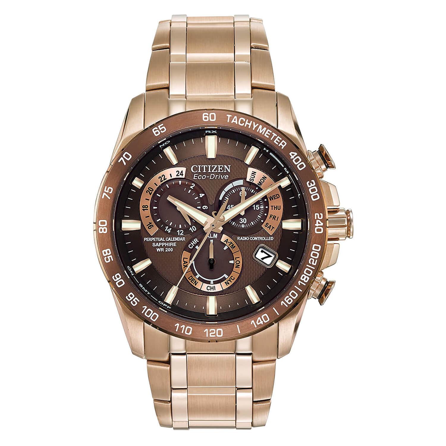 Citizen Eco Perpetual Brown Dial Rose Gold Plated Watch