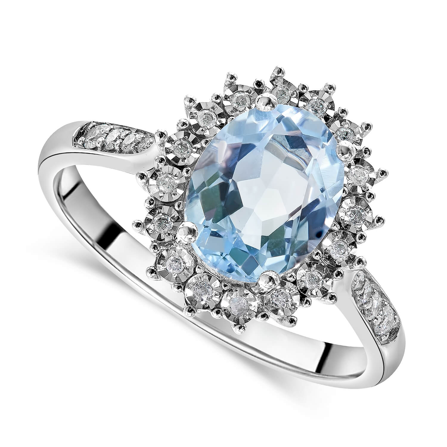 Ladies 9ct White Gold Diamond and Blue Topaz Cluster Dress Ring