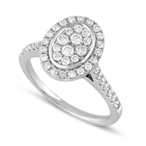 9ct White Gold and Diamond Oval Ring
