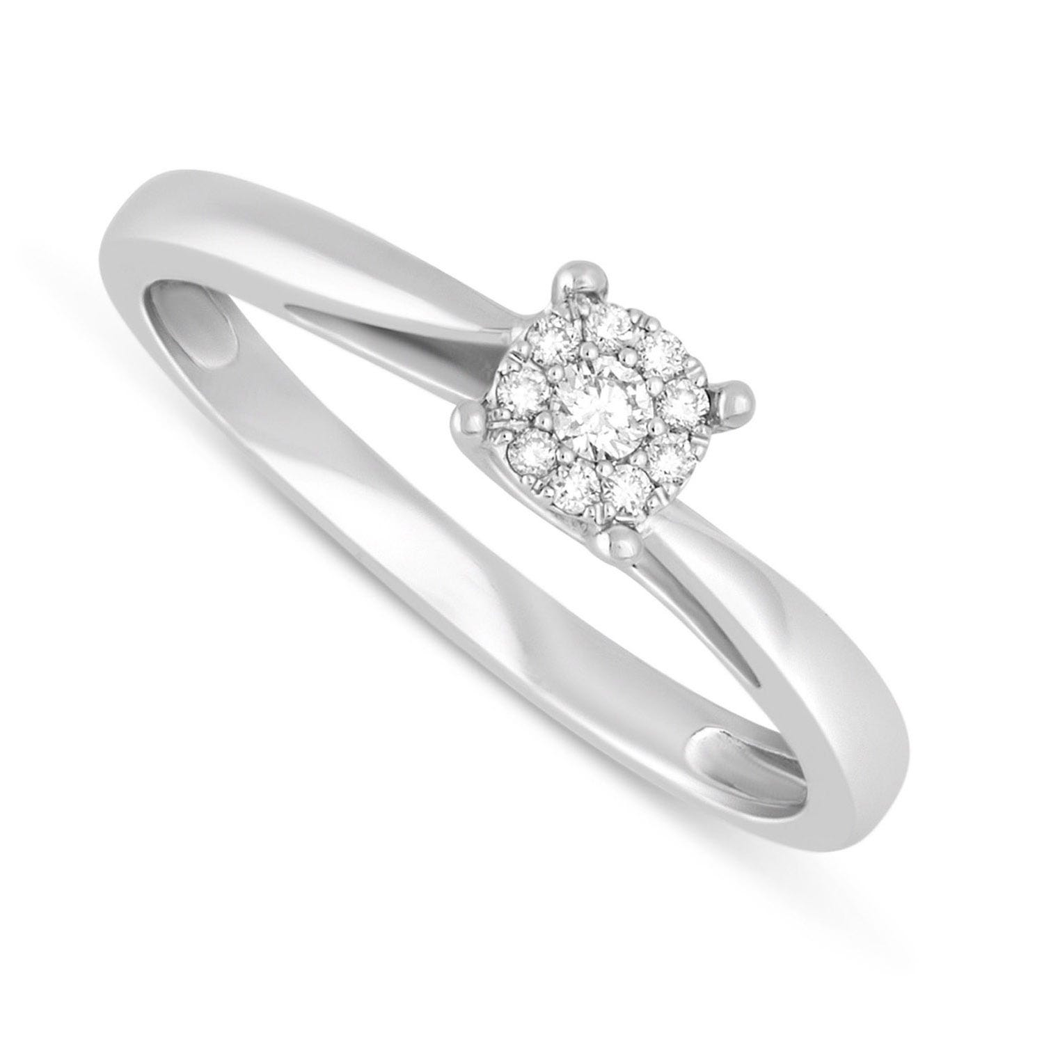 9ct White Gold 0.09ct Diamond Cluster Twist Ring