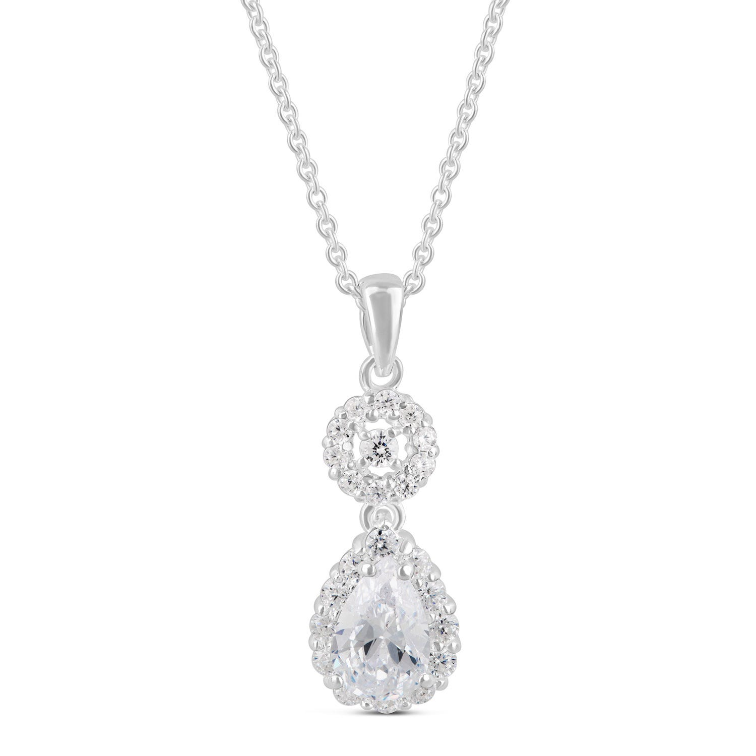 Sterling Silver Cubic Zirconia Pear and Round Cut Cluster Pendant