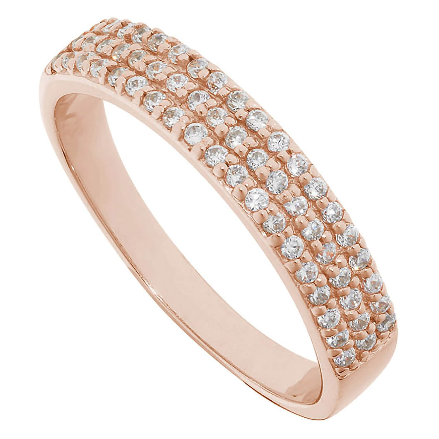 Ladies Apassionata Rose Gold Three Row Ring