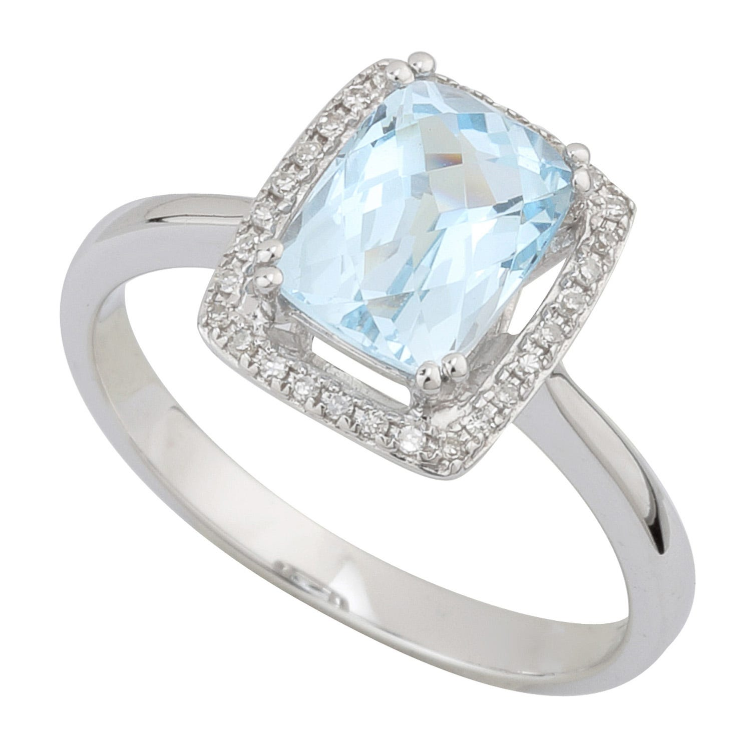 Ladies 9ct White Gold Diamond and Blue Topaz Dress Ring