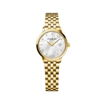 Raymond Weil Round Toccata Mother Of Pearl Diamond Dot Dial With Yellow Gold PVD Bracelet Watch