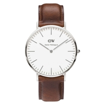 Daniel Wellington Classic St Mawes men's stainless steel and brown leather strap watch