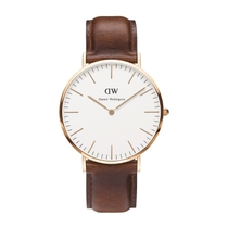 Daniel Wellington Classic St Mawes men's rose gold-plated and brown leather strap watch