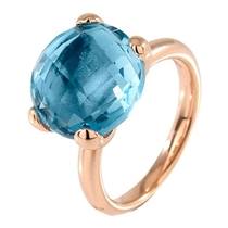 Bronzallure 18ct Rose Gold Plated Blue Topaz Ring