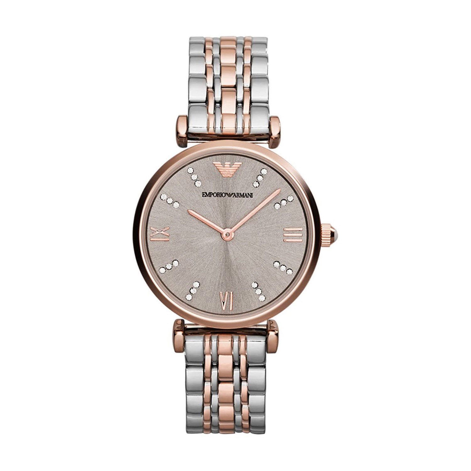 Emporio Armani T-Bar Champ Crystal Dial Rose Two Tone Bracelet