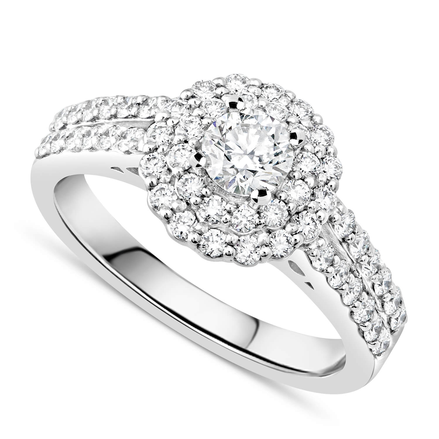 Ladies 18ct White Gold and Diamond Halo Engagement Ring