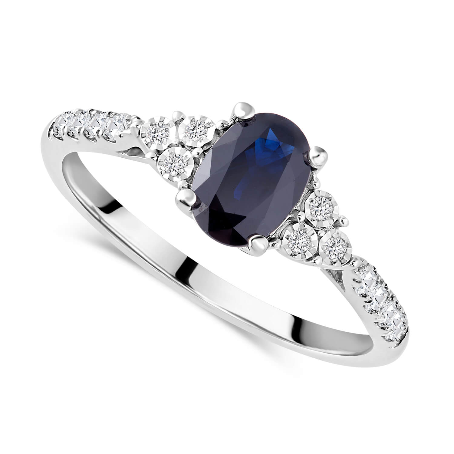 Ladies 9ct White Gold Diamond and Sapphire Ring