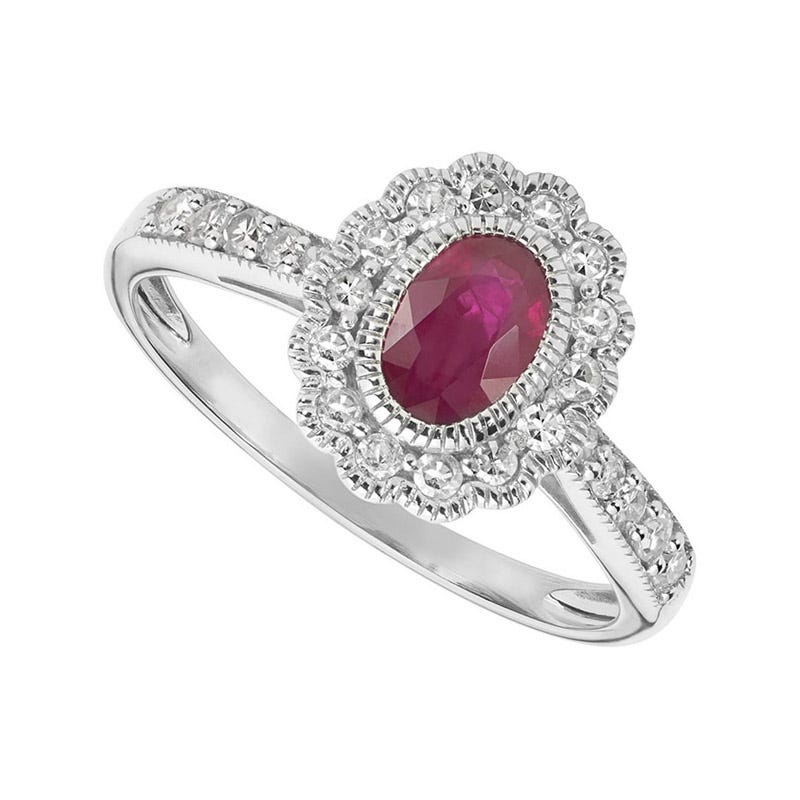 Ladies 9ct White Gold Diamond and Ruby Dress Ring