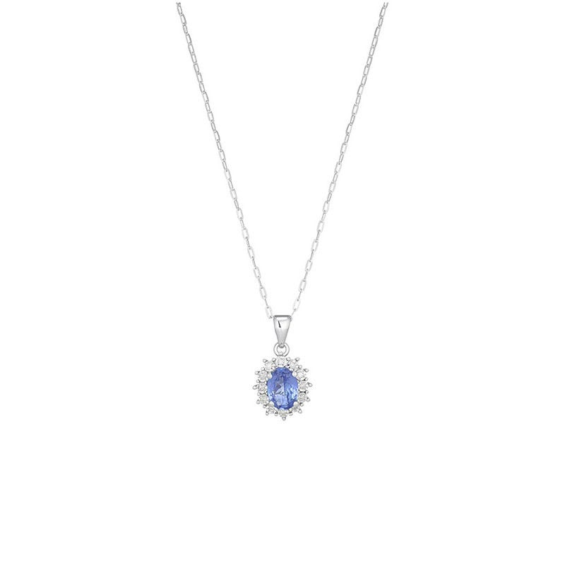 Ladies 9ct White Gold Tanzanite And Diamond Oval Cluster Pendant .04ct