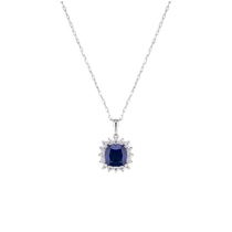 Ladies 9ct White Gold and Sapphire Cluster Pendant