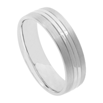 Men's Palladium 500 Matt and Polished 6mm Wedding Ring