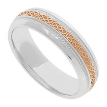 Men's 9ct White and Yellow Gold Celtic Centre 6mm Wedding Ring