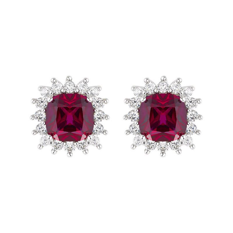 Ladies 9ct White Gold and Ruby Cluster Earrings