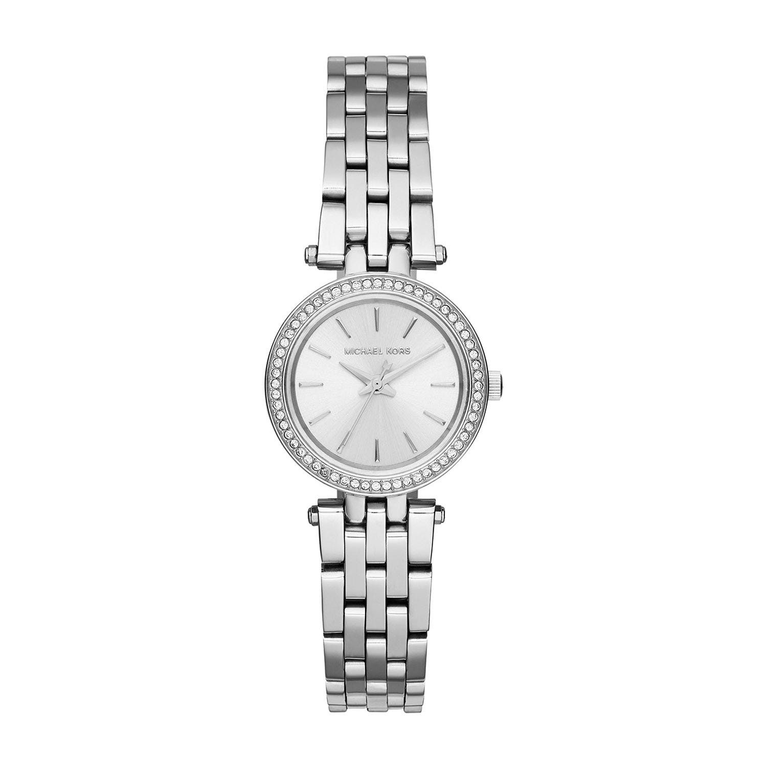 Michael Kors Mini Darci Silver Dial with Cubic Zirconia Set Silver Bezel and Stainless steel Bracelet Ladies' Watch