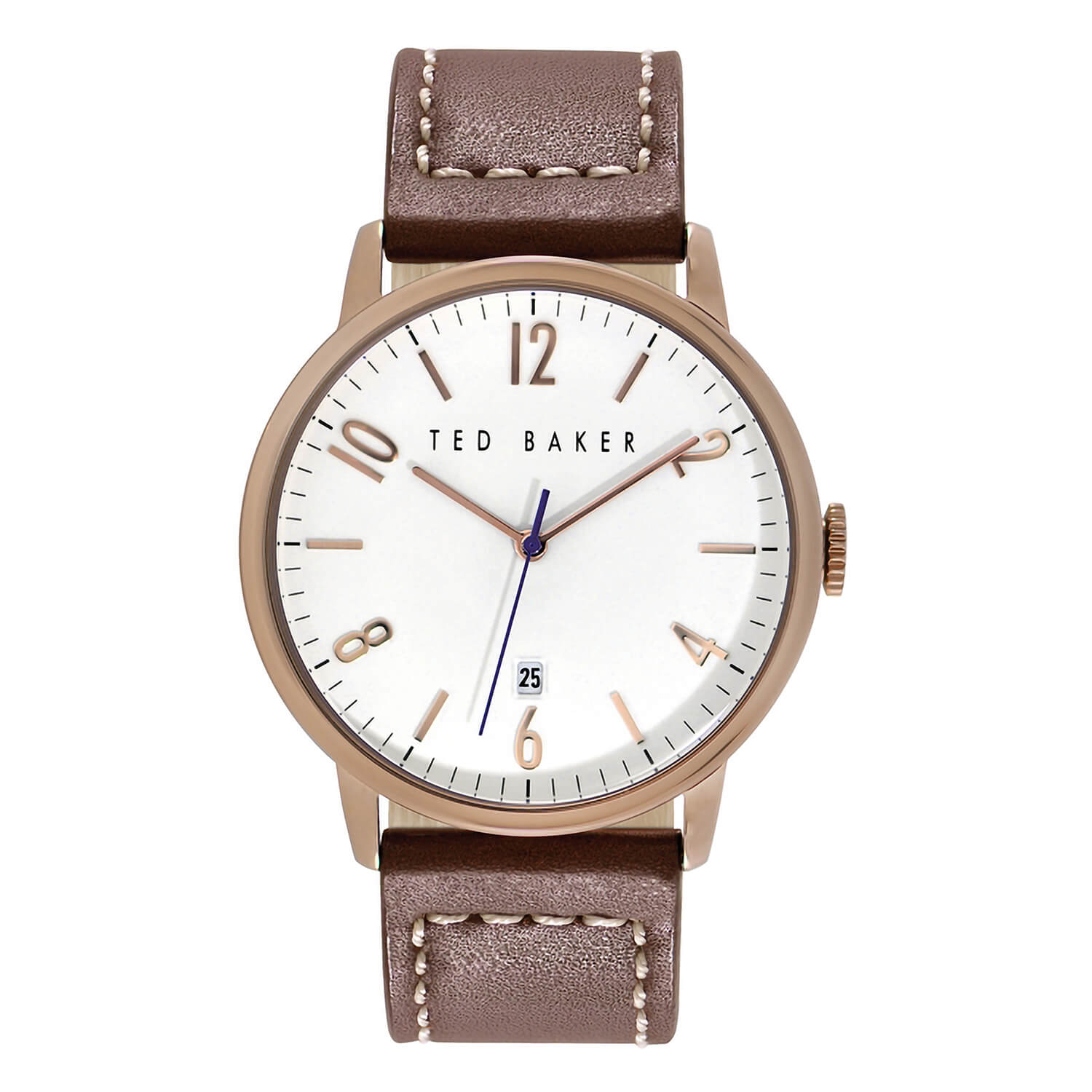 Ted Baker Men's White Dial Brown Leather Strap Watch