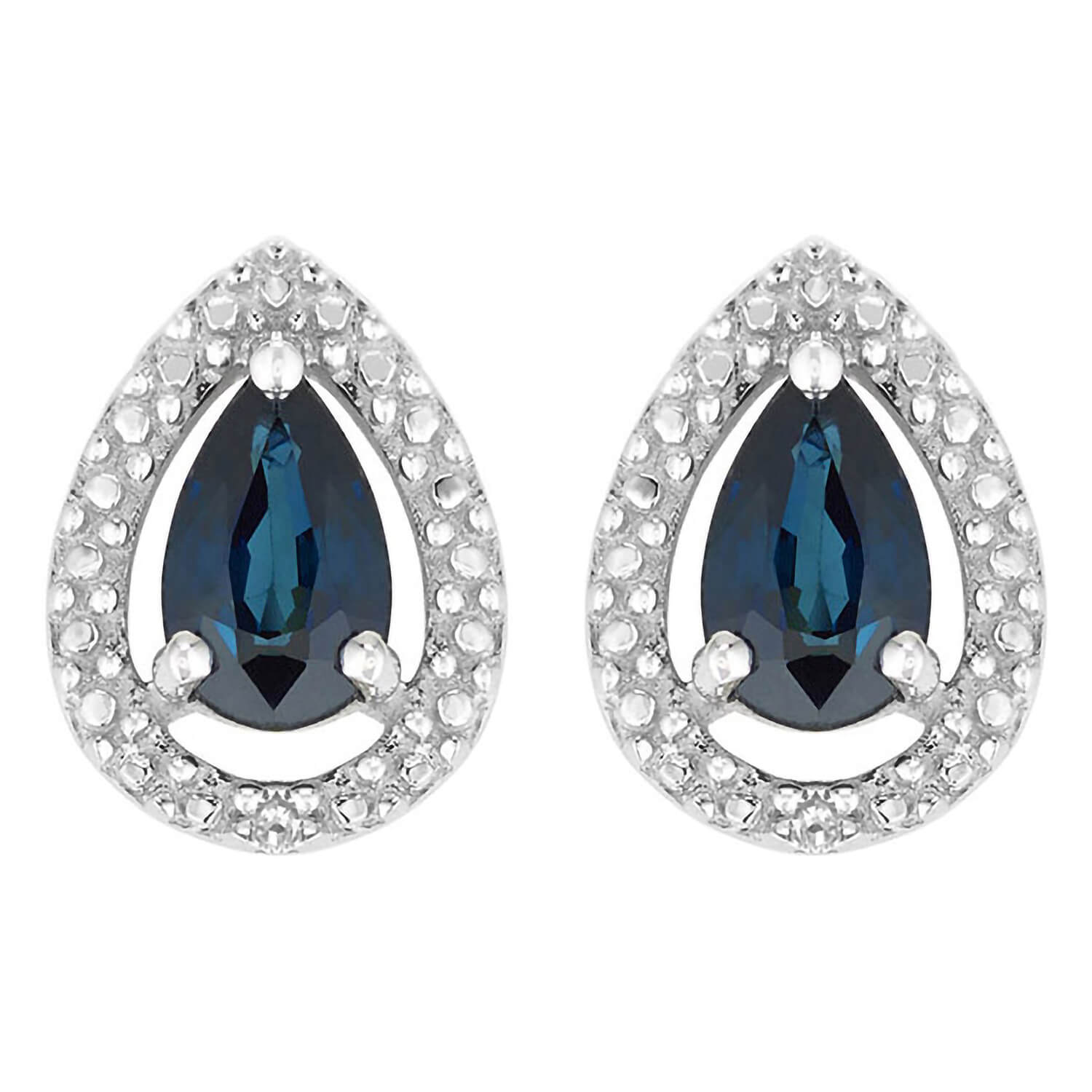 Ladies 9ct White Gold Sapphire and Diamond Pear Earrings
