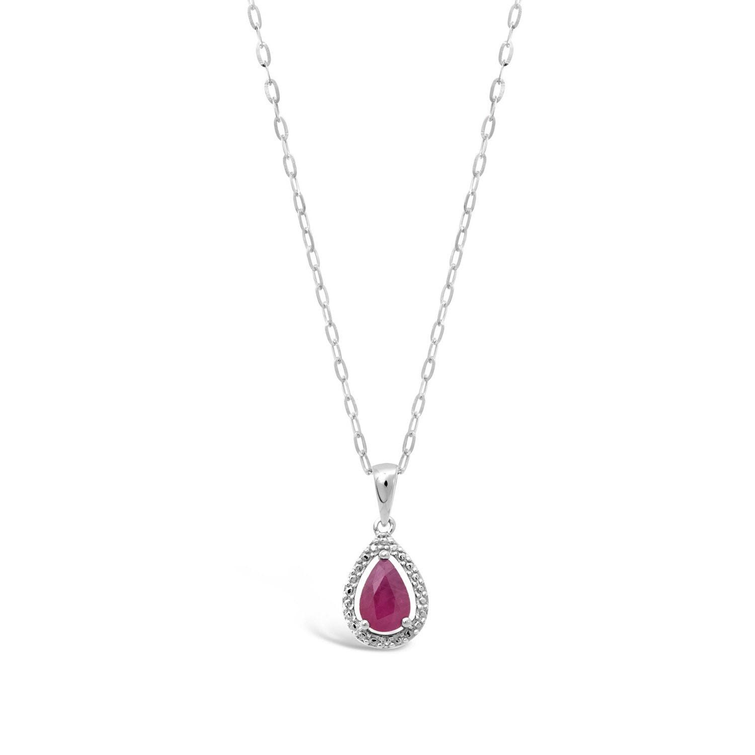 9ct White Gold Pear Ruby and Diamond Cluster Pendant