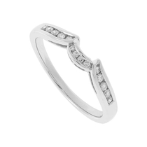 Ladies' 9ct White Gold 0.11 Carat Diamond Shaped 1mm Wedding Ring