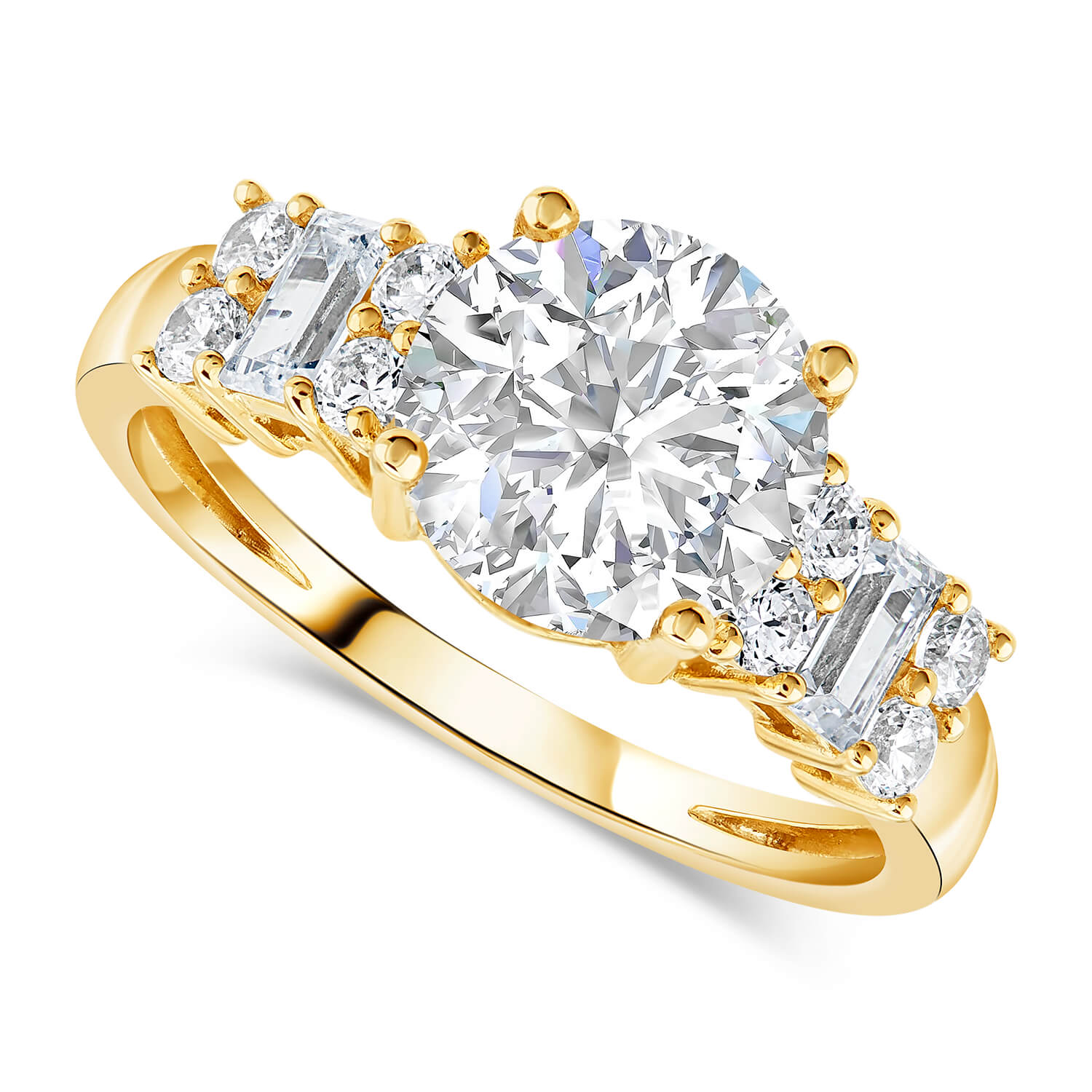 9ct Gold Round Brilliant and Baguette Cubic Zirconia Ring