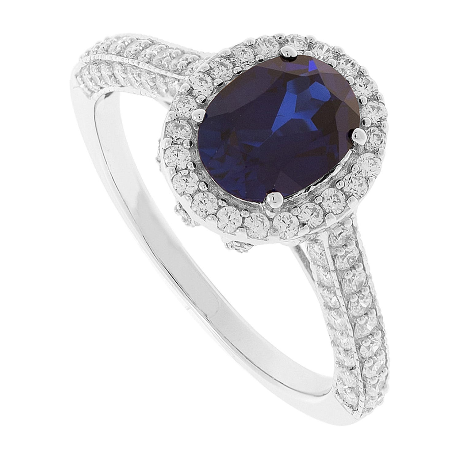 9ct White Gold Created Sapphire and Cubic Zirconia Ring