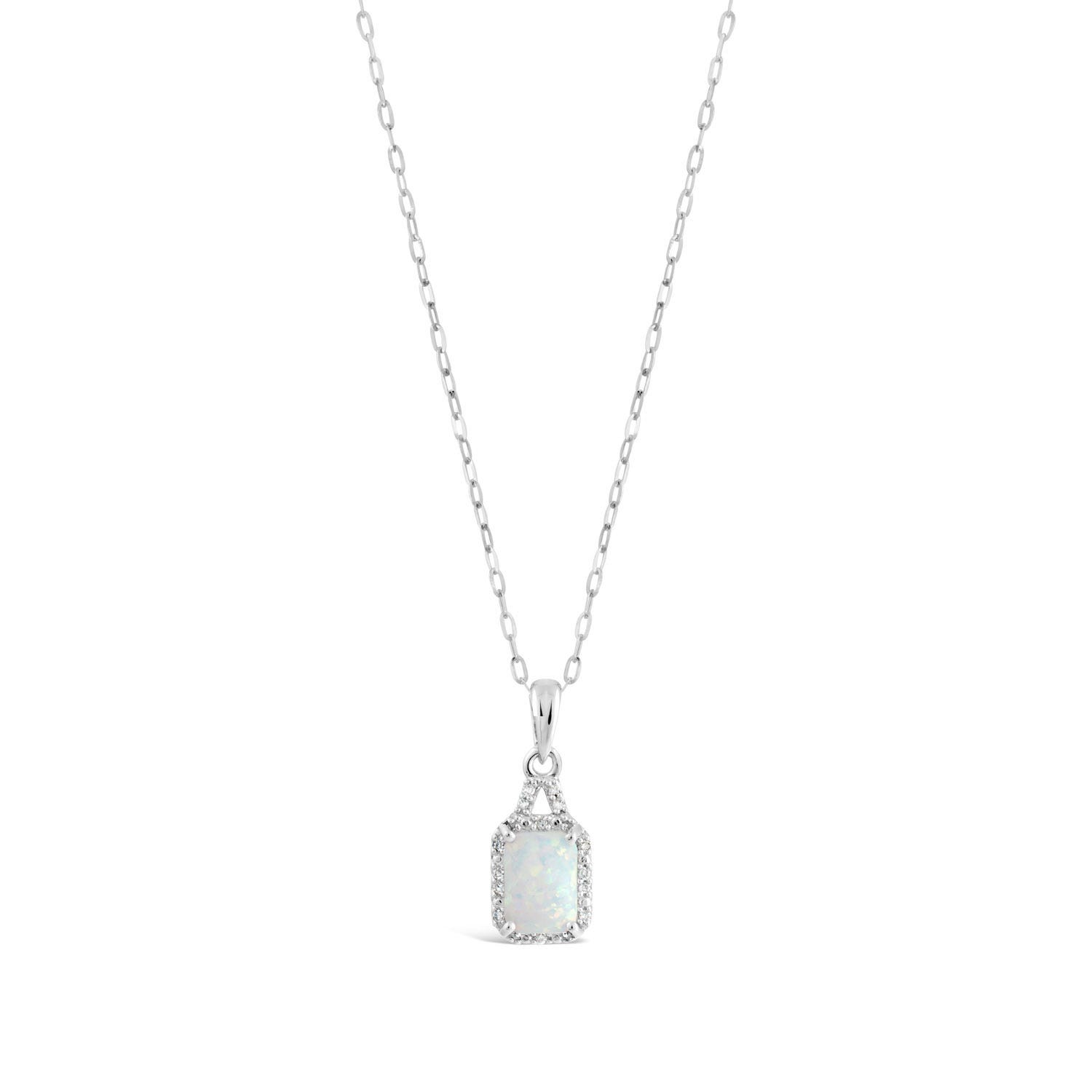 9ct White Gold Created Opal and Diamond Pendant