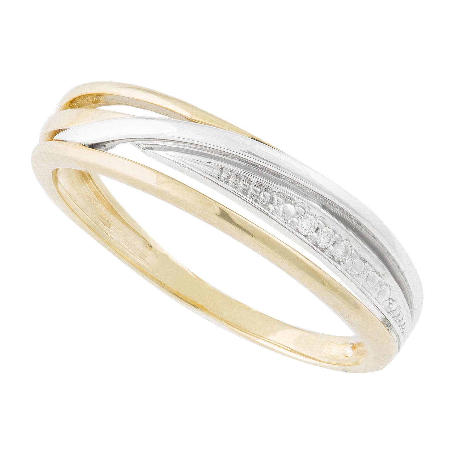 Ladies' 9ct White and Yellow Gold Diamond Dress Ring