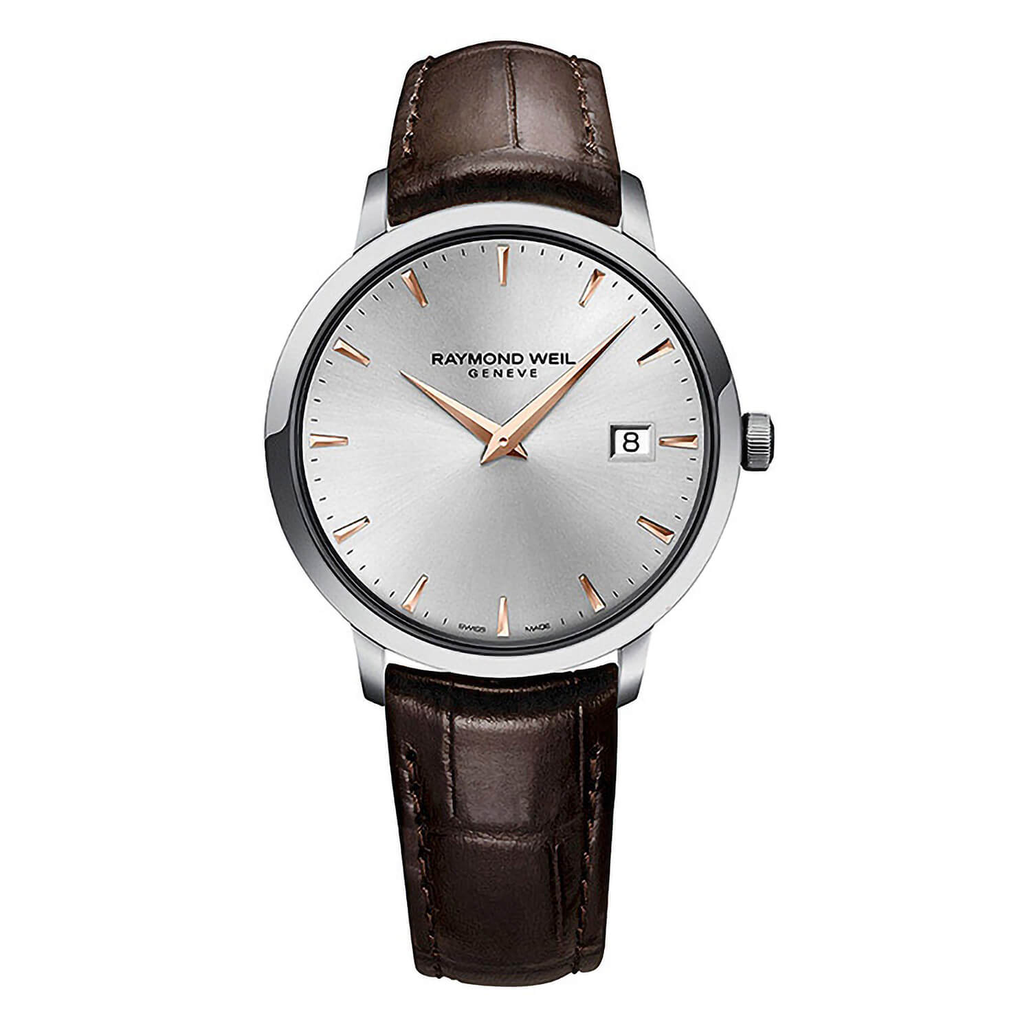 Raymond Weil Toccata Silver and Rose Gold Baton Dial with Brown Strap Watch
