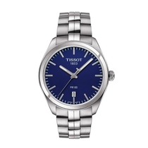 Tissot PR 100 Men's Blue Dial Stainless Steel Bracelet Watch