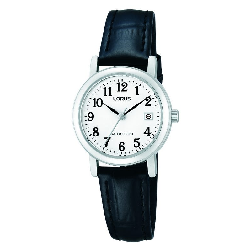 Lorus Ladies' White Dial Black Leather Watch