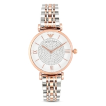 Emporio Armani T-Bar Ladies' Crystal Two-tone Bracelet Watch