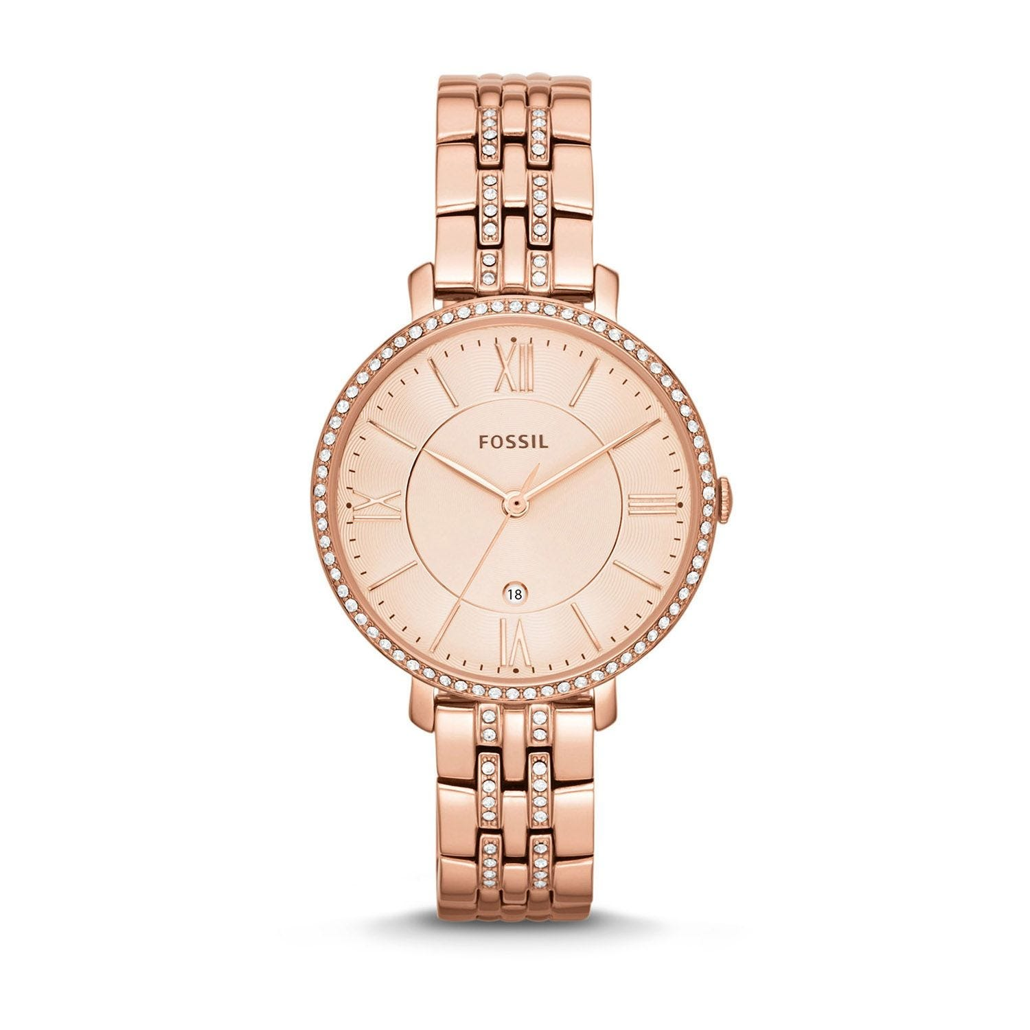Fossil Jacqueline Ladies' Crystal Rose Gold-plated Bracelet Watch