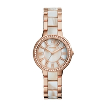 Fossil Virginia Ladies' Stone-set Rose Gold-tone and Horn Acetate Watch
