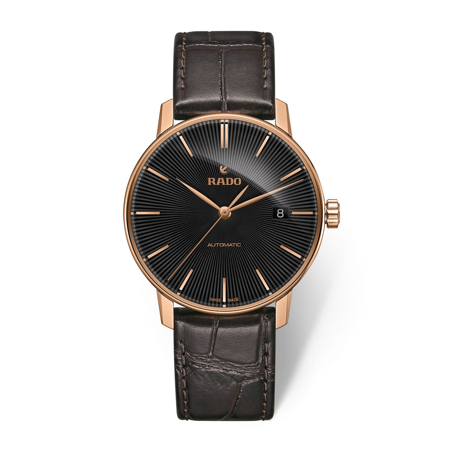 Rado Coupole Classic Automatic Black/Rose Batton Dial With Date Black Strap