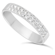 Ladies' 18ct White Gold 0.24 Carat Diamond Two Row Millgrain 3.5mm Wedding Ring