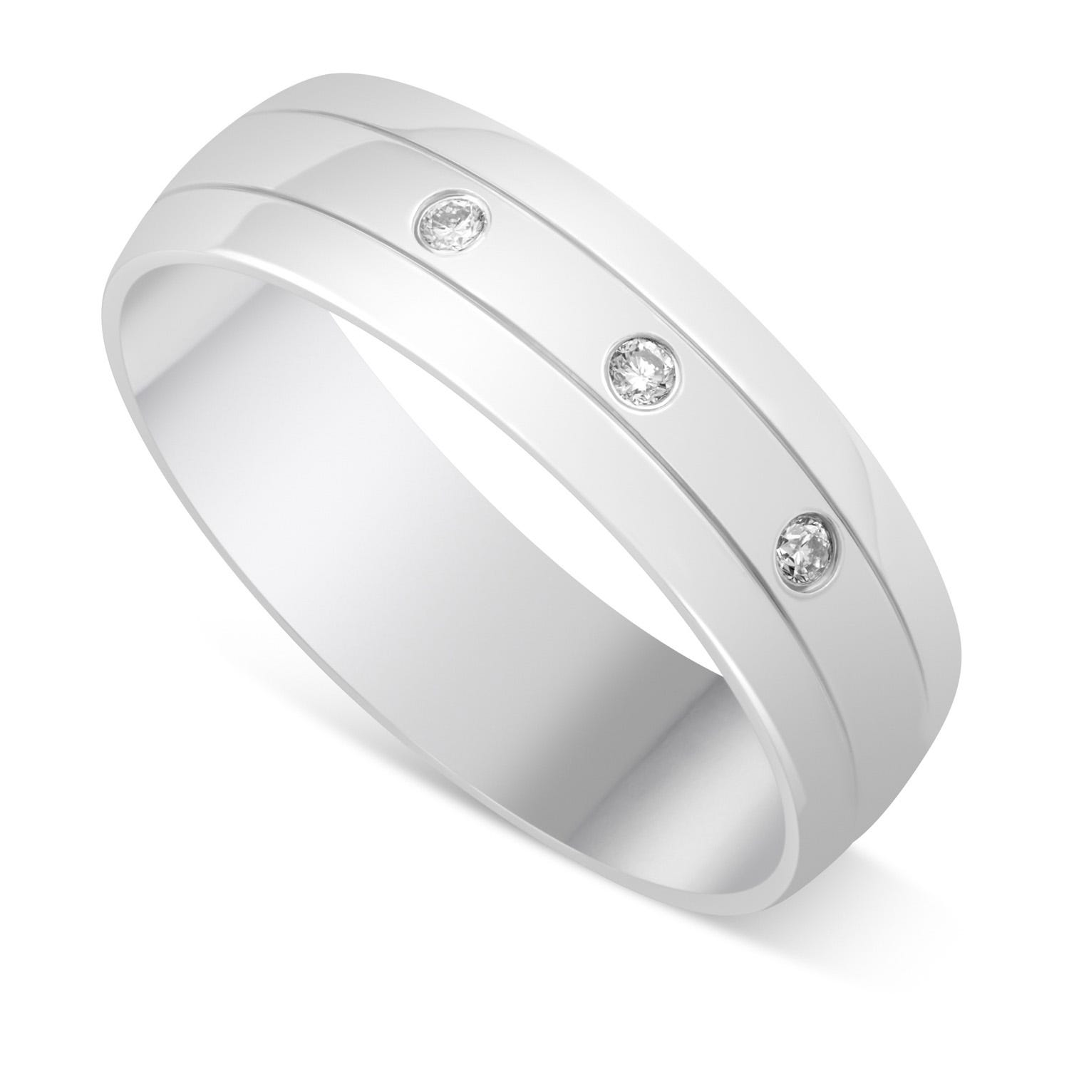 9ct White Gold Gents Diamond Wedding Ring