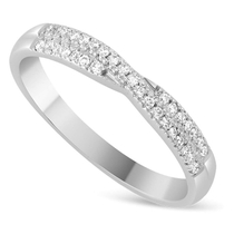 Ladies' 18ct White Gold 0.17 Carat Diamond Crossover Shaped Wedding Ring